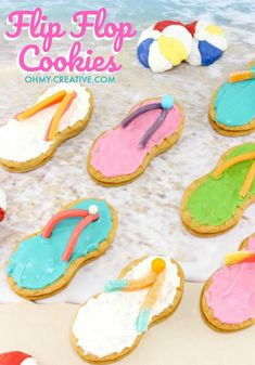 Flip flop cookies made from Nutter Butter oval shaped cookies. and other fun coastal beach and nautical party cookie ideas. Featured on Completely Coastal. Party bites for a summer party, savory and sweet ideas! Party Desserts, Summer Desserts, Summer Recipes, Strawberry Desserts, Easy Recipes, Luau Party, Beach Party, Diy Party, Ocean Party