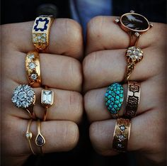 vintage statement rings from local swap meets