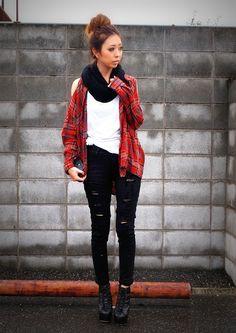 Japanese Fashion scarf Flannel shirt