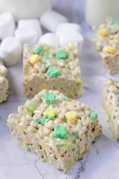 Extra Thick Lucky Charms Marshmallow Treats are a sweet dessert for St. They're a full two inches thick and have extra marshmallows for the ultimate gooey treat. Lucky Charms Treats, Lucky Charms Cereal, Lucky Charms Marshmallows, Marshmallow Treats, Rice Krispie Treats, Cereal Treats, Food Gifts, Yummy Snacks, Recipe Using