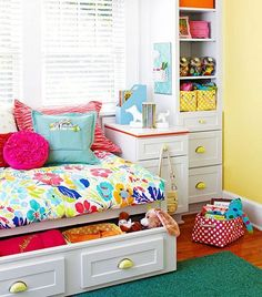 trundle drawer underneath bed  for storage Colorful Girl's Rooms
