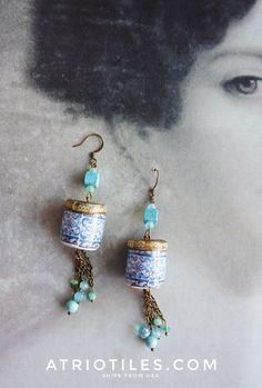 Portugal Antique Azulejo Tile Replica Filigree Earrings - AVEIRO Santa Joana Convent 1458 - Portuguese - Bohemian Boho Ships from USA