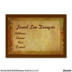 Brown And Gold Business Card