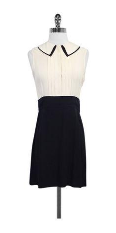Victoria Beckham Cream & Black Silk Dress