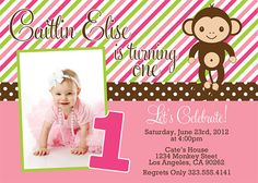 Girl Monkey Birthday Party Invitation by dpdesigns2012 on Etsy, $10.00