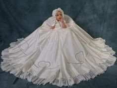 Christening Gown Made From Your Wedding Dress - Girls Detachable Christening Gowns - Smocked Treasures