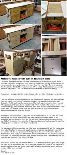 Mobile workbench with built in downdraft table