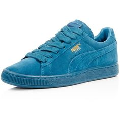 Puma Suede Classic Mono Sneakers ($69) ❤ liked on Polyvore featuring shoes, sneakers, sports trainer, lace up shoes, sport shoes, suede leather shoes and sports shoes