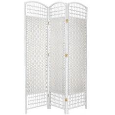 5 1/2' Tall Fiber Weave Room Divider, White
