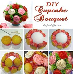 DIY a Cupcake Bouquet! Such a pretty way to celebrate. CraftsnCoffee.com.
