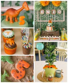 Orange and Green Dinosaur Birthday Party // Fiesta de dinosaurios naranja y verde