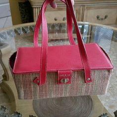 Cute purse. Red woven bag purse. Bags
