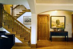 Craftsman style stairs and door Craftsman Staircase, Craftsman Style Homes, Craftsman Bungalows, Bungalow Designs, Bungalow Ideas, Stairs And Doors, Mission House, Newel Posts, Blue Prints