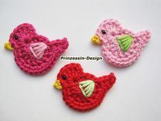Vögel, plenty of crochet applique ideas...