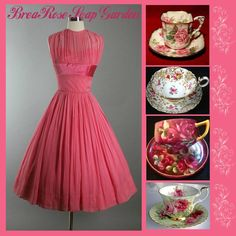 Beautiful Evening Gowns, Vintage China, Absolutely Gorgeous, Pretty In Pink, Tea Dresses, Coral, Teacups, Rose, Collages