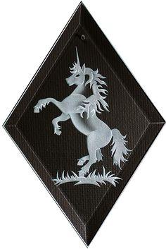 Carved Glass Unicorn Hanging Suncatcher by braithwaitestudios