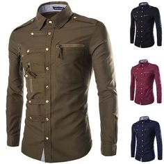 Men'S Fashion Casual Long Sleeve Zip Slim Fit T-Shirt Dress Shirts Tops Tee