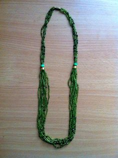 Handmade beaded necklace, green. 100% of sales go to support the Youth Education Network of Kenya - www.yenkenya.org