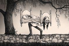 Boogeyman by John Kenn Mortensen Creepy Drawings, Dark Art Drawings, Cartoon Drawings, Cool Drawings, Cartoon Art, Arte Horror, Horror Art, John Kenn, Creepy Horror