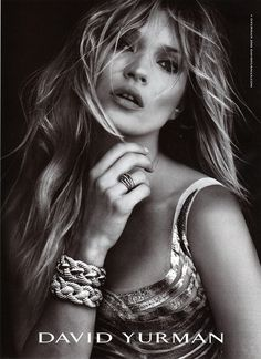 David Yurman jewelry Kate moss on black Vanity Fair
