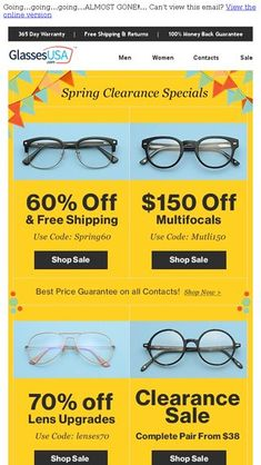322ddc0a846e Dont miss spring clearance!   Open up for 4 MASSIVE sales... - GlassesUSA Email  Archive