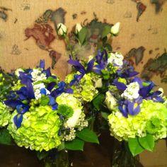 Bouquets for Horizon Blue wedding Designed by Tonja Bitencourt for A Beautiful Beginning www.abeautiful-beginning.com