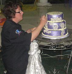Purple & Lemon Brush Embroidery Wedding Cake