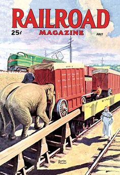 Buyenlarge Railroad Magazine the Circus on the Tracks, 1946 Vintage Advertisement on Wrapped Canvas Size: x Circus Poster, Circus Art, Poster Poster, Vintage Circus, Vintage Art, Circus Train, Train Posters, Railway Posters, Train Art