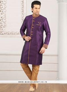 6766ff8c0541 Wedding Function Wear Purple Color Semi Indo Suit #purple #kurta #silk  #menfashion