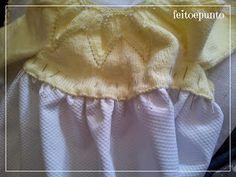 Muchos modelos de vestidos para bautizo combinan faldón de tela con parte de arriba de punto. Hoy vamos a ver cómo se unen estas dos piezas.