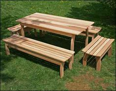 Red Cedar Contoured Picnic Table w/(4) Benches