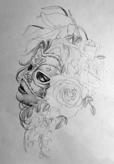 Women with mask tattoo idea sketch