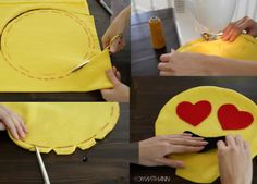 Cushions emoticons like make and templates Sewing Hacks, Sewing Crafts, Sewing Projects, Sewing Pillows, Diy Pillows, Emoji Craft, Crochet Waffle Stitch, Diy And Crafts, Crafts For Kids