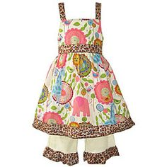 Adorable set from Ann Loren is perfect for any girl's wardrobe Girl's dress set includes dress and Capri pants Children's apparel is available in jungle color option