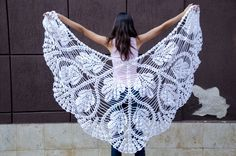 Crochet triangle white scarf shawl  mohair and by CrochetZone  for inspiration only