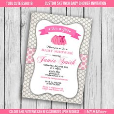 tutu cute baby shower invitation in pink and grey by mymaystore