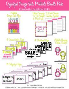 Garage Sale  Printable Bundle Pack  37 pages by DelightfulOrder, $29.00