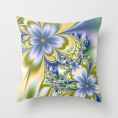 Silky Flowers Throw Pillow