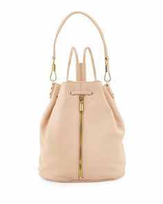 Cynnie Leather Drawstring Backpack, Champagne at CUSP.