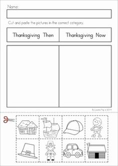 Kindergarten Thanksgiving Math & Literacy Worksheets and Activities. A page from the unit: Thanksgiving then and now cut and paste sorting activity