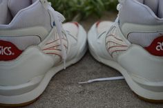 RARE Vintage Asics Mens Basketball High Top Shoes Size 10 White Red and Blue | eBay