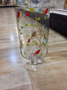 Bird pattern glass