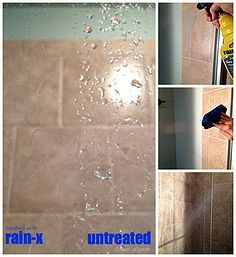 a surprising way to prevent soap scum build up on glass shower doors, bathroom ideas, cleaning tips, This side by side comparison shows the difference Rain x made on my glass shower door