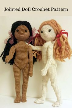 I love the proportions of this crochet doll and I love that she is jointed. Easier play for kids. Amigurumi Crochet Doll Pattern #ad #etsy