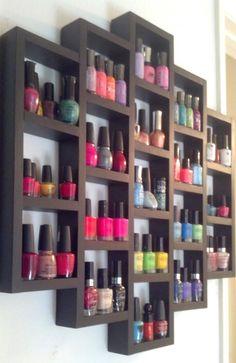 White Acrylic Nail Polish Bottle Shape Wall Mounted Nail Polish Display Shelving Organiser