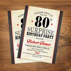 80th Surprise Birthday Invitation / Any Age by TheStarDustFactory
