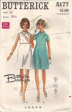 ec129208613 Vintage original Butterick Sewing pattern Misses  One Piece Dress. High  waisted semi fitted slightly A line dress has standing shaped collar.