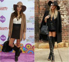 Modelos usam chapéu floppy com botas.