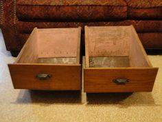 2 Antique Hoosier Kitchen Cabinet Drawer Bin Metal Bottom Oak Wood w/ Pulls