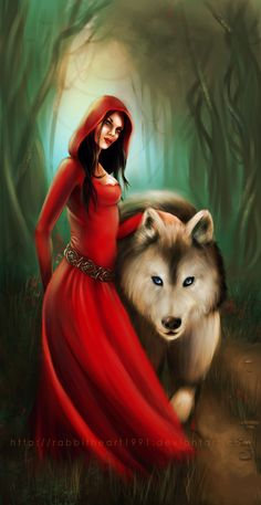 Red and the Wolf by Alice-in-Red.deviantart.com on @deviantART